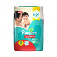 Pampers Baby Dry Pants S 4-8kg, 8 Pants