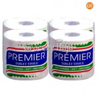 Premier Toilet Tissue 2Ply Strong Rolls, 4 in 1 Family Pack
