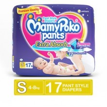 Mamypoko Pants Extra Absorb Diaper - Small Size, 4-8 kg, 17 Pcs