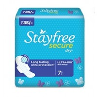Stayfree Secure Dry Ultra Dry Wings, 7 Pads