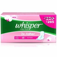 Whisper Ultra Soft 2x Softer XL+Wings, 30 Pads