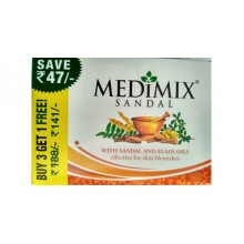 Medimix Sandal Soap Buy 3 Get 1 Free,4 x 125g - Save Rs 47